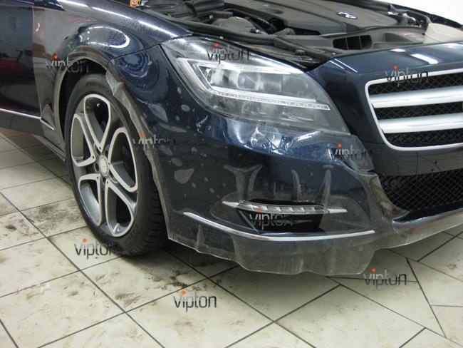 Mercedes Benz CLS: Нанесение антигравийной пленки 6
